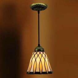 """1-Light 6"""" Wide Tiffany Style Leaf  Stained Glass Shade Mini"""