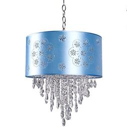 1 Light Crystal Pendant Light in Chrome Finish with Baby Blu