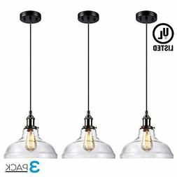 LEONLITE 1-Light Industrial Clear Glass Pendant Light Fixtur