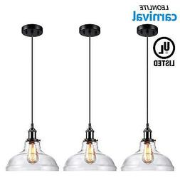 1 light industrial clear glass pendant light