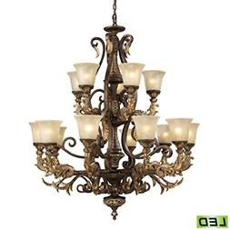 15 Light Chandelier In Burnt Bronze - LED, 800 Lumens  With