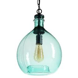 "Casamotion 17""H X 11""W 1-Light Black Wavy Blown Glass Pendan"