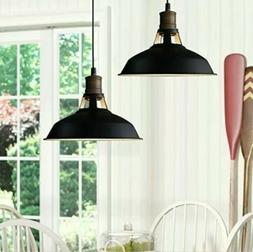 2 PACK CLAXY Ecopower Industrial Barn Mini Metal Pendant Lig