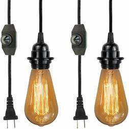 PZYIDA-2 Pack Industrial Pendant Light Cord Kit E26 Hanging