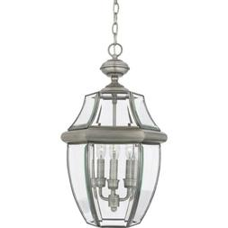Quoizel 3 Light Newbury Outdoor Pendant in Pewter - NY1179P