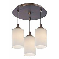 3-Light Semi-Flush Ceiling Light with White Glass in Bronze