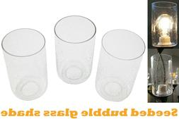 3 Pack Seeded Glass Shade Clear Bubble Cylinder for Light Fi