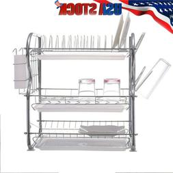 3-Tier Dish Drying Rack Kitchen Collection Shelf Drainer Hol
