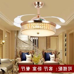 """42""""Crystal Invisible Ceiling Fans Chandelier Pendant Lamp Go"""