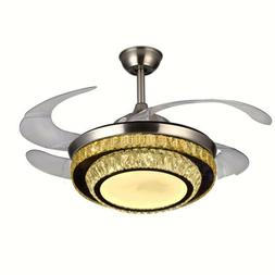 """42"""" Crystal LED Light Remote Invisible Ceiling Fans Pendant"""