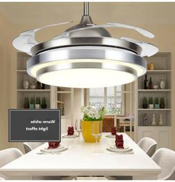 """42"""" Invisible Retractable Ceiling Fan Light LED Dimmable Cha"""