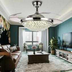 """42"""" Retractable Ceiling Fans with Lights Modern Crystal Remo"""