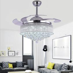 """42"""" Silver Crystal Invisible Ceiling Fan Chandelier LED Pend"""