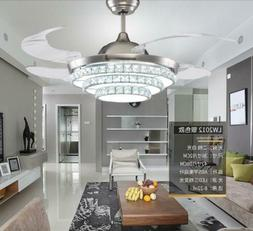 """42"""" Silver Crystal Invisible Ceiling Fan Chandelier Pendant"""
