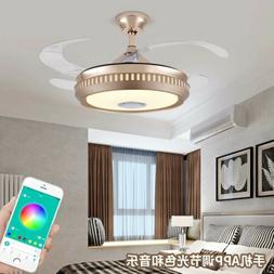 """42""""Smart Invisible Ceiling Fan Chandelier Bluetooth Remote M"""