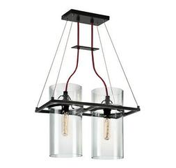 Sonneman 4762.25 Square Ring 2-Light Pendant with Clear Shad
