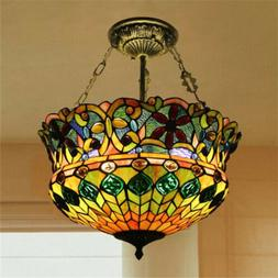 5-Light Retro Stained Glass Ceiling Light Tiffany Style Chan