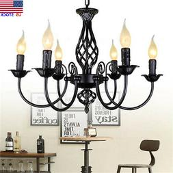6 Heads Wrought Iron Chandelier Hanging Candle Light Lamp Pe