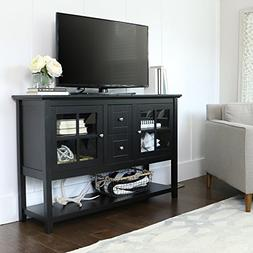 """WE Furniture 52"""" Console Table Wood TV Stand Console, Black"""