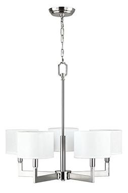 Allegro 5 Light Pendant Chandelier – Brushed Nickel w/ Fab