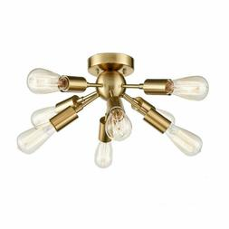 CLAXY Antique Brass Sputnik Chandelier with 8 Socket Flush M