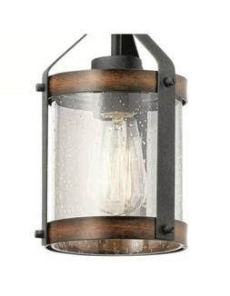 Kichler Barrington Distressed Black and Wood Rustic Cylinder