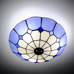 Blue Tiffany Style Modern Ceiling Lamp Shade Chandelier Pend