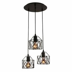 Unitary Brand Rustic Black Metal Cage Shade Dining Room Mult