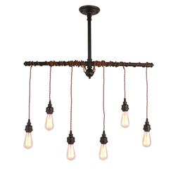 Unitary Brand Rustic Black Metal Hanging Pendant Light with