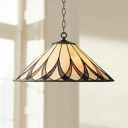 "Bronze Tiffany Pendant Light 19 3/4"" Amber Art Glass Fixture"
