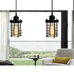 Cage Pendant Light Black Fixture Vintage Industrial Hanging