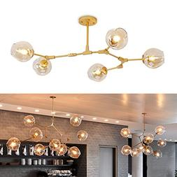 KingSo Chandelier Adjustable Pendant Lamp, Matte Gold Hangin