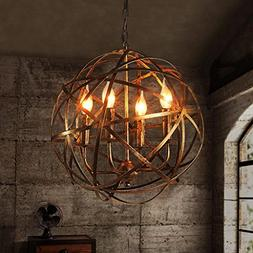 Chandelier Restaurant Retro Industrial Metal Cross Orb 4-Lig