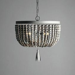 Classic Distressed Gray Wood Beaded 2-Light Ceiling Pendant