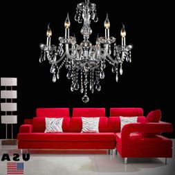 Clear Crystal Chandelier Lighting 6 Lights Fixture Pendant C