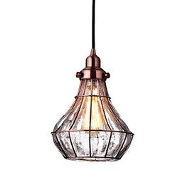 YOBO Lighting Cracked Glass Vintage Wire Cage Ceiling Pendan