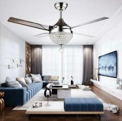 Crystal Ceiling Fan Light LED Pendant Lamp Remote Control St