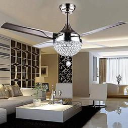 Efperfect 44 inch Crystal Ceiling Fan Light with Remote Cont