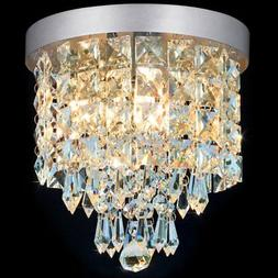 SHINE HAI Crystal Chandelier, 3-light Modern Flush Mount Cei