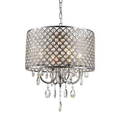 mirrea Crystal Chandelier Pendant Light, 4 Lights, with Crys