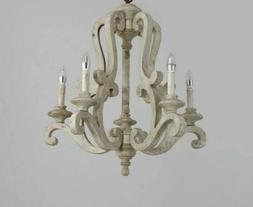 Distressed French White Hanging Chandelier Wooden Pendant 5-