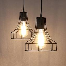 2-Pack E26 Vintage Metal Cage Pendant Lamps Lighting Chandel