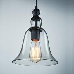 CLAXY Ecopower 1 Light Vintage Hanging Big Bell Glass Shade