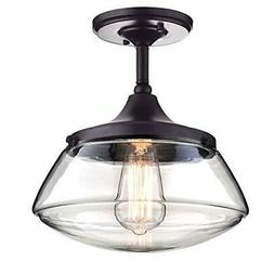 CLAXY Ecopower Vintage Metal Glass Ceiling Light 1-Lights Pe