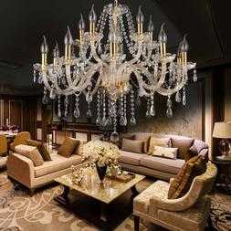 Elegant Crystal Glass Chandelier Pendant Ceiling Lighting Fi