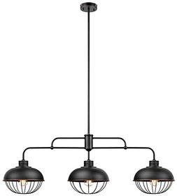 "Globe Electric Elior 3-Light 42"" Industrial Caged Pendant, O"