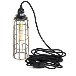 Elongated Design Metal Cage Pendant Wall Lamp Fixture by Rus