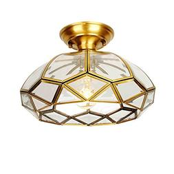European Luxury Brass Ceiling Lamp, Glass Pendant Lamp Shade