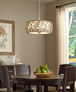 fairgate silver multi light modern drum pendant