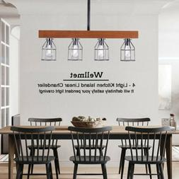 Farmhouse Chandelier Wood Beam Pendant Light Large Linear Is